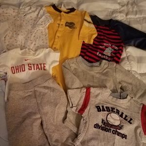 Lot of sports themed 0-3 month boy clothes